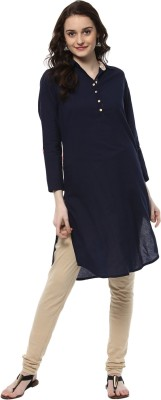Jaipur Kurti Women Solid Straight Kurta(Dark Blue) at flipkart