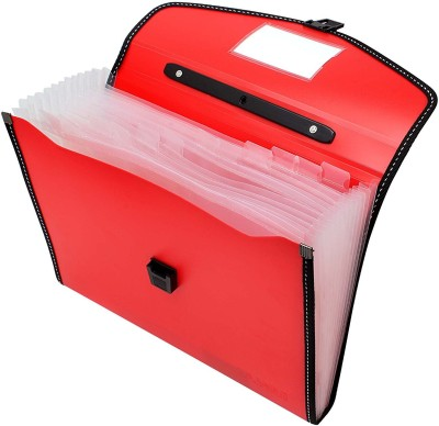 TRANBO Polypropylene Polka Dots File Folder with 13 Pockets, Handle, Index Tab, A4 Size, Orange(Set Of 1, Orange)
