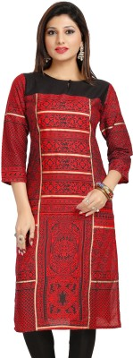 ALC Creations Printed Women Straight Kurta(Red, Black, Gold)