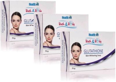 HealthVit Glutathione Skin Whitening Soap pack of 3(75 g, Pack of 3)