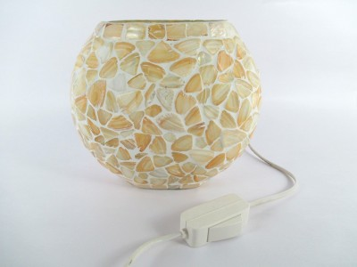 RoyaL Indian Craft Oval Shape Natural SEASHELL Decorated Glass Lamp Night Lamp(16 cm, Multicolor) at flipkart
