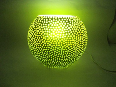 RoyaL Indian Craft Oval Shape Yellow Grains Hand Decorated Glass Lamp Night Lamp(16 cm, Multicolor) at flipkart
