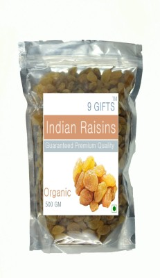 9 GIFTS Yellow Currant (Kishmish) seedless Raisins(500 g, Pouch)