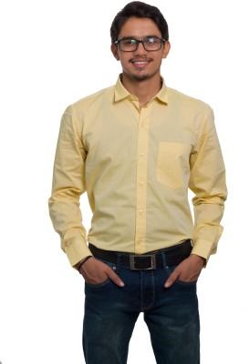 LeebaZone Men Solid Casual Yellow Shirt