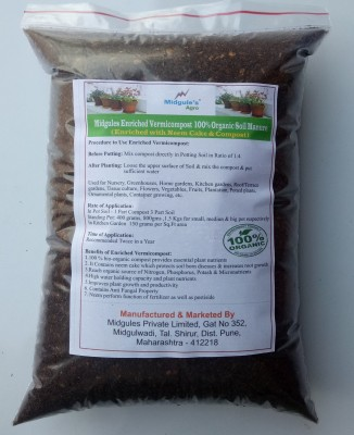 Midgules Enriched Vermicompost – 100% Organic ( With Neem Cake & Compost) h Soil Manure(900 g Powder)  available at flipkart for Rs.166
