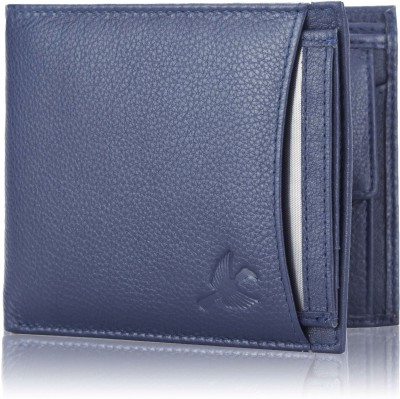 HORNBULL Men Formal Blue Genuine Leather Wallet 8 Card Slots HORNBULL Wallets