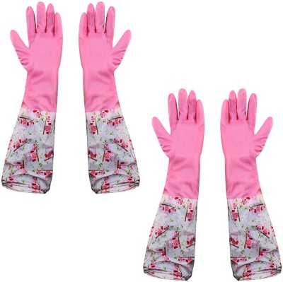 HOKIPO Reusable PVC Latex Kitchen Gloves, Long Elbow Length - For Summer, 2 Pair Wet and Dry Glove Set(Free Size Pack of 2)