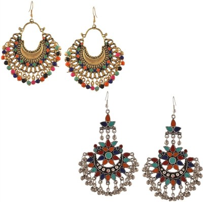 BnB Pack Of 2 Afghani Tribal Dangler Brass Drop Earring, Dangle Earring, Chandelier Earring at flipkart