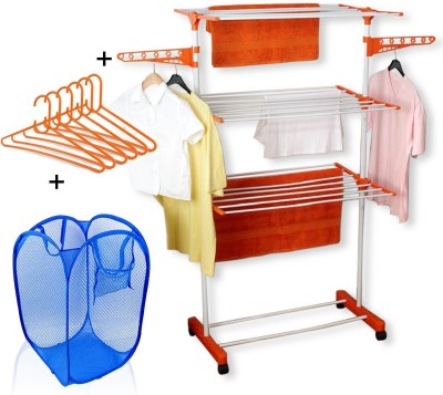 TNC cloth dryer stand with Laundry Bag and Hangers Carbon Steel Floor Cloth Dryer Stand(Orange, White)
