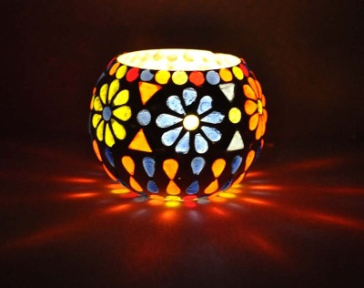 Lal Haveli Home Decorative Candle Light Stand Glass Tealight Holder(Multicolor, Pack of 1) at flipkart