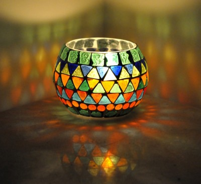 Lal Haveli Decorative Candle Light Stand Glass Tealight Holder(Multicolor, Pack of 1) at flipkart