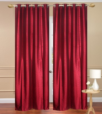 Homebird Polyester Red Plain Long Door Curtain(274 cm in Height, (8.8 ft), Pack of 8) at flipkart