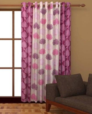 India Furnish Polyester Window Curtain 153 cm (4.9ft) Single Curtain(Printed Pink)  available at flipkart for Rs.219