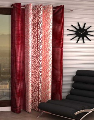 IndiaFurnish Polyester Window Curtain 153 cm (4.9ft) Single Curtain(Printed Maroon)  available at flipkart for Rs.219