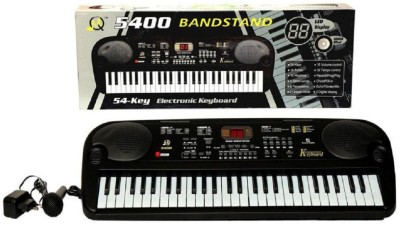 mn overseas musical 54 key piano with mic and adapter(Black)