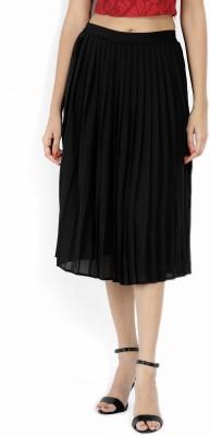 Forever 21 Solid Women Pleated Black Skirt