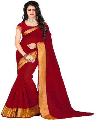 Cozee Shopping Solid Fashion Poly Silk, Cotton Blend Saree(Red) at flipkart