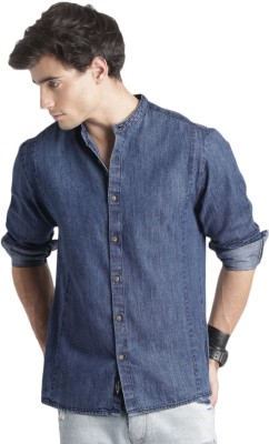 Roadster Men Printed Casual Blue Shirt at flipkart