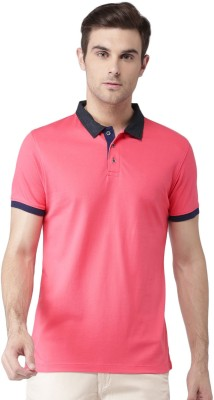 Invictus Solid Men Polo Neck Pink T-Shirt at flipkart