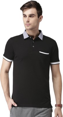 Invictus Solid Men Polo Neck Black T-Shirt