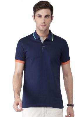 Invictus Solid Men Polo Neck Dark Blue T-Shirt at flipkart
