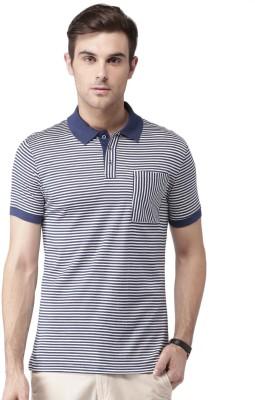 Invictus Striped Men Polo Neck Dark Blue, White T-Shirt at flipkart