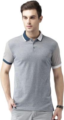 Invictus Self Design Men Polo Neck Blue, Grey T-Shirt at flipkart