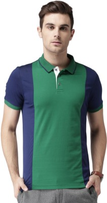 Invictus Solid Men Polo Neck Green, Dark Blue T-Shirt at flipkart