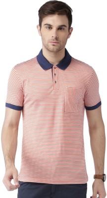 Invictus Striped Men Polo Neck Orange, White T-Shirt at flipkart