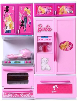 PRESENTSALE Beautiful Barbie Kitchen Play set Toy with Light & Sound for kids(Pink)  available at flipkart for Rs.887