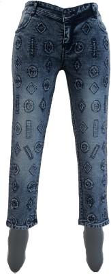 aaditya e world Slim Girls Grey Jeans