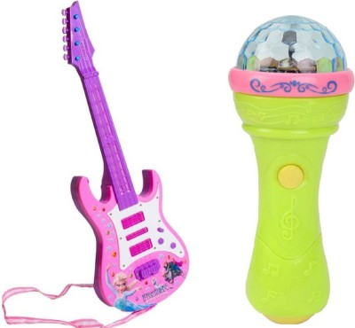 M N Overseas Rock and Roll Guitar with 3D light Mic(Multicolor)