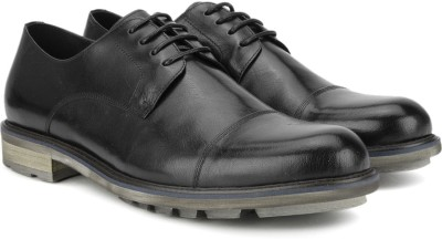Pavers England Genuine Leather Lace Up(Black) at flipkart
