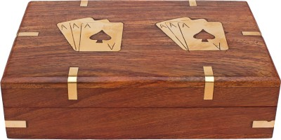 Kartique Playing Card Box with two set of Golden Playing Cards | Combo Deal | Wooden Playing Card Box Showpiece  -  5 cm(Plastic, Gold)  available at flipkart for Rs.893