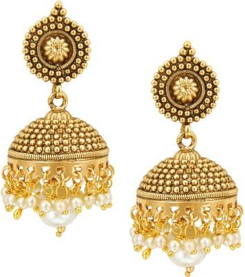 Shining Jewel 24K Elegant Designer Temple Pearl Brass Jhumki Earring  available at flipkart for Rs.493