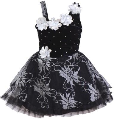 Wishkaro Girls Midi/Knee Length Casual Dress(Silver, Sleeveless)