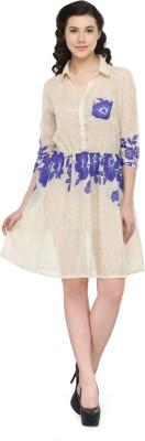 Pura Women Fit and Flare Beige Dress
