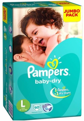 Pampers Baby Dry Diapers, L 60 Pieces