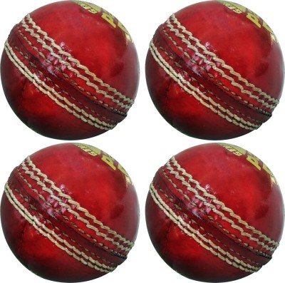 GOLDDUST Pacer Genuine Leather Hand Sewn Cricket Leather Ball Pack of 4, Red GOLDDUST Cricket Balls