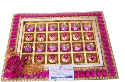 JAINCO STAR CHOCOLATES Stone Tray 2 Type of Chocolate Gift Pack Pink and Golden Colour( Caramels(24)