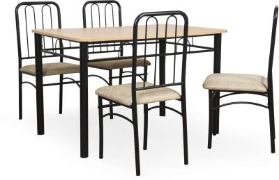 FurnitureKraft Detroit Metal 4 Seater Dining Set(Finish Color - Black)