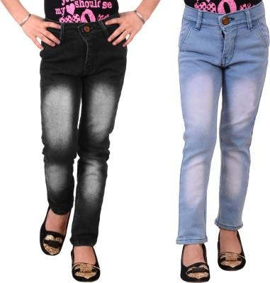 Guchu Slim Girls Black Jeans(Pack of 2)