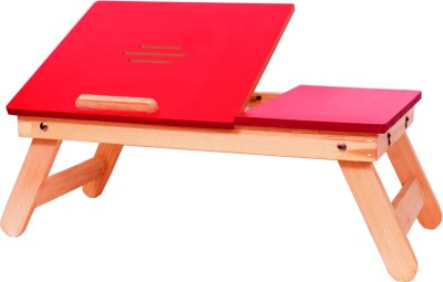 Cart4Craft Matte finish multipurpose table Solid Wood Portable Laptop Table(Finish Color - Red)