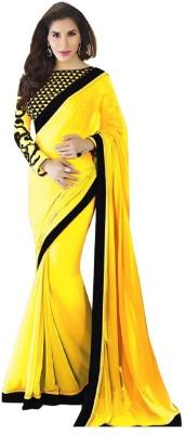 Saumya Designer Plain, Solid Fashion Faux Georgette Saree(Black, Yellow)
