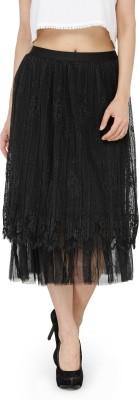 People Printed Women A-line Black Skirt