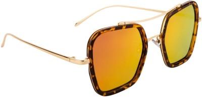 Farenheit Retro Square Sunglasses(Golden) at flipkart