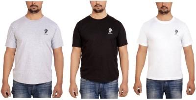 SPHINX Solid Men Round Neck Black, Grey, White T-Shirt(Pack of 3)