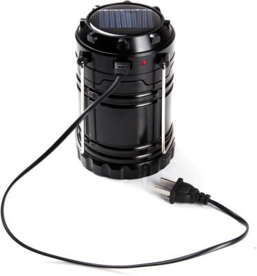 Wonder World™ LED Solar Emergency Light Lantern USB Mobile Charging Torch point, 2 Power Source Solar Rechargeable Travel Camping Lantern(Black)