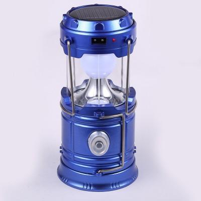 Wonder World™ Luminaire LED Exterieur 6LEDs Solar Collapsible Flashlights Portable Solar Lamp Camping LED Rechargeable Lantern Hanging Lamp(Blue)