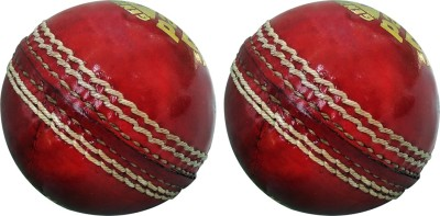GOLDDUST Pacer Genuine Leather Hand Sewn Cricket Leather Ball Pack of 2, Red GOLDDUST Cricket Balls